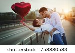 beautiful couple in love at... | Shutterstock . vector #758880583