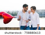 young couple in love dating and ... | Shutterstock . vector #758880613