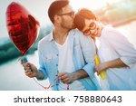 romantic couple in love dating... | Shutterstock . vector #758880643