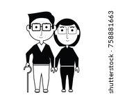 cartoon eldery couple icon over ... | Shutterstock .eps vector #758881663
