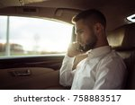 man talking on smartphone... | Shutterstock . vector #758883517