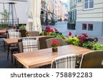 street outdoor cafe with nature ... | Shutterstock . vector #758892283
