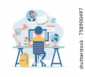 e learning vector flat concept... | Shutterstock .eps vector #758900497