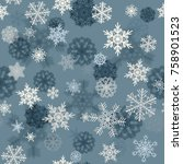seamless pattern with snowflakes | Shutterstock . vector #758901523