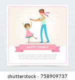 father playing hide and seek... | Shutterstock .eps vector #758909737