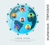 social network as worldwide... | Shutterstock .eps vector #758910643
