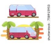 minibus image in flat style | Shutterstock . vector #758915953