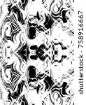 black and white grunge pattern... | Shutterstock . vector #758916667