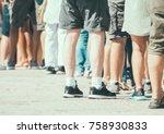 people standing in a queue on...   Shutterstock . vector #758930833