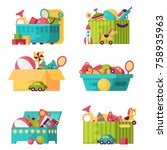 full kid toys in boxes for kids ... | Shutterstock .eps vector #758935963