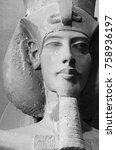 Small photo of Head of a Statue of Pharaoh Akhenaten (Amenhotep IV) - ancient Egyptian in 12 Apr 2015, Egyptian Museum Cairo