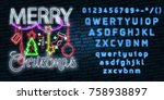 christmas text neon sign. neon...   Shutterstock .eps vector #758938897