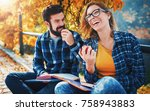 two young students sitting in... | Shutterstock . vector #758943883