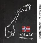 map of norway  chalk sketch...   Shutterstock .eps vector #758949103