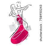 ballroom dancers couple.... | Shutterstock .eps vector #758950243