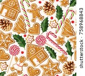 winter seamless patterns with... | Shutterstock .eps vector #758968843