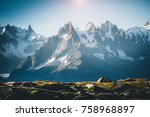 great mont blanc glacier with... | Shutterstock . vector #758968897
