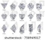 fifteen varieties of rare and...   Shutterstock . vector #758969017