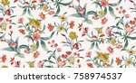 seamless floral pattern in... | Shutterstock .eps vector #758974537