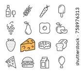 black line food icons set....   Shutterstock . vector #758976313