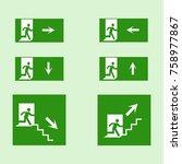 emergency exit sign vector pack ...   Shutterstock .eps vector #758977867