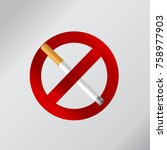 no smoking sign on a white... | Shutterstock .eps vector #758977903