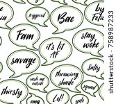 conversation speech bubbles of... | Shutterstock .eps vector #758987233