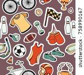 seamless pattern sport doodle... | Shutterstock .eps vector #758990167