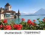 red flowers and lake view in... | Shutterstock . vector #758999947
