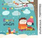 cute winter cartoon couple... | Shutterstock .eps vector #758999983