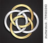 3d golden silver ornamental... | Shutterstock .eps vector #759003343