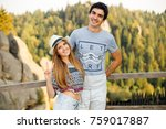 happy  stylish young couple... | Shutterstock . vector #759017887