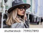confident in her beauty. side... | Shutterstock . vector #759017893