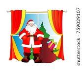 christmas window with santa... | Shutterstock .eps vector #759029107
