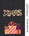 vector christmas greeting cards ... | Shutterstock .eps vector #759041287