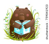 bear cub reading book cute... | Shutterstock . vector #759041923
