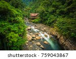 a jungle lodge by a river in... | Shutterstock . vector #759043867
