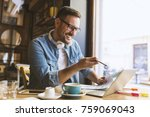 smiling young freelancer... | Shutterstock . vector #759069043