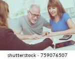 senior couple meeting financial ... | Shutterstock . vector #759076507