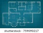 vector blueprint floor plan the ... | Shutterstock .eps vector #759090217