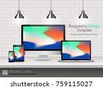set of computer  laptop  tablet ... | Shutterstock .eps vector #759115027