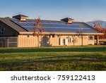 solar panels on roof of north... | Shutterstock . vector #759122413