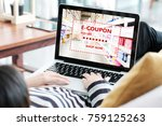 woman entering the discount... | Shutterstock . vector #759125263