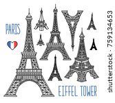 eiffel tower freehand vector... | Shutterstock .eps vector #759134653