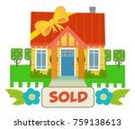 cute house with a ribbon... | Shutterstock .eps vector #759138613
