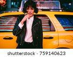 half length portrait of serious ... | Shutterstock . vector #759140623