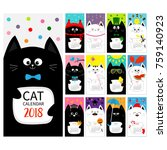 cat vertical monthly calendar... | Shutterstock .eps vector #759140923