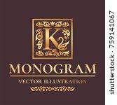 "vector luxury monogram ""k"" logo ... | Shutterstock .eps vector #759141067"