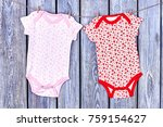 baby girl rompers hanging on...   Shutterstock . vector #759154627