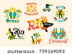 brazilian carnival. big set of... | Shutterstock .eps vector #759169093